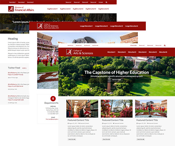 Three screenshots of example homepages in UA web template styles.