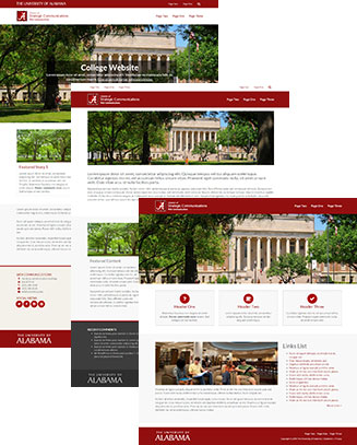 Three screenshots of different homepage designs for the UA WordPress Theme