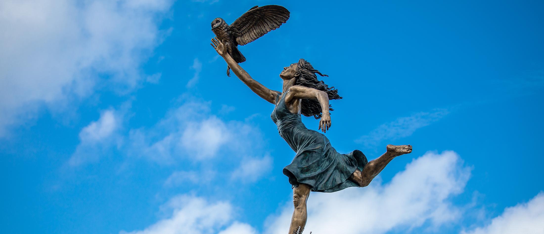 Minerva statue at Manderson Landing