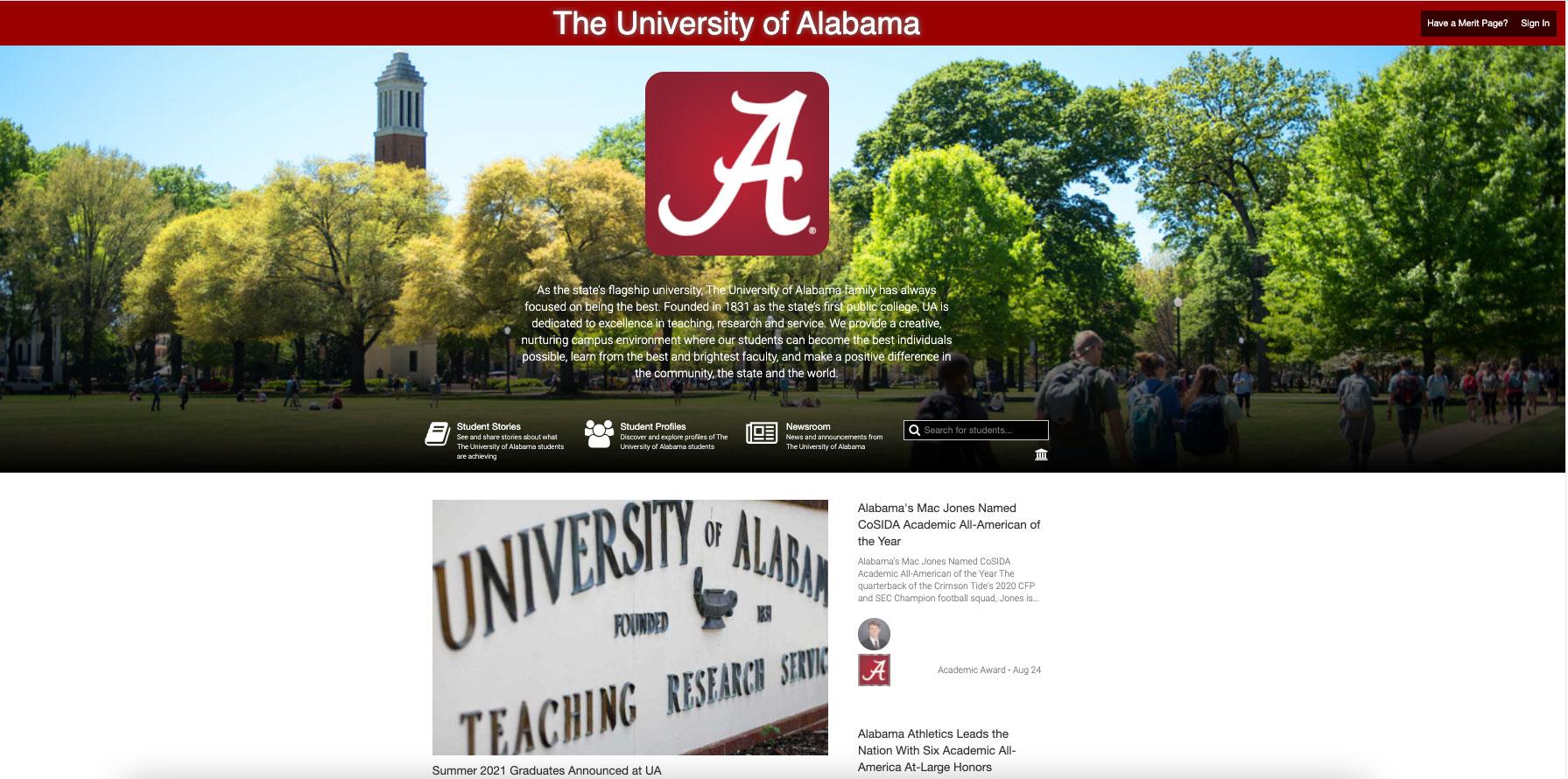 Screenshot of UA's Merit landing page